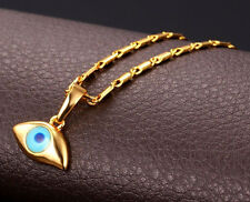 18K GOLD PLATED EVIL EYE PENDANT NECKLACE W/CHAIN F12