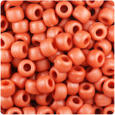 500 Cinnabar Red Matte 9x6mm Barrel Pony Beads Made in the USA