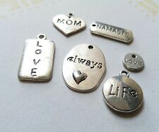 Word Charms Pendants Assorted Lot Inspirational Charms Antiqued Silver
