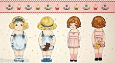 "PAPER DOLL BAKERY CRAFT PANEL CUPCAKE CREATE (2) 17"" DOLLS on 100% COTTON FABRIC"