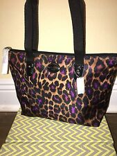 New Coach Purple Black Leopard Ocelot Mini Weekender Purse Handbag Tote