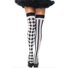 VOGUE Women Harlequin Clown Striped Thigh High Rhombic Stockings