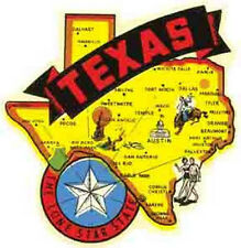 Texas  State Map Banner  TX    Vintage 1950's-Style  Travel Decal/Sticker