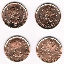 2012 CANADIAN PENNIES - 4 UNCIRCULATED COINS - 2 MAGNETIC & 2 NON-MAGNETIC TYPE