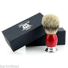 Men's 100% SILVER TIP Badger Hair Shaving Brush in RED&CHROME Handle Made in UK