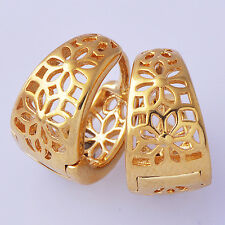 Womens  14k Gold Plated Hoop Earrings 18K Hollow Out Flower Free Shipping