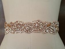"Wedding Dress Sash Belt -  Rose Gold Crystal SASH BELT = 18"" long"