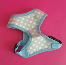 MEDIUM BLUE POLKADOT SPOTTY  DOG HARNESS CHIHUAHUA YORKIE PUPPY PUG JACK POM