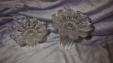 Pair Vintage Glass Taper Candle Holders Heavy clear Floral design candlesticks
