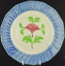 """BLUE SPATTERWARE RED COXCOMB DECORATED PLATE C.1850-8 1/2"""" SPATTERWARE PLATE-A"""