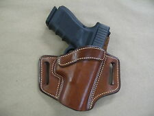 FN FNS 9mm PIstol OWB Leather 2 Slot Molded Pancake Belt Holster CCW TAN  RH