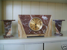 UCRA FRENCH ART DECO MARBLE CLOCK AND GARNITURE SET