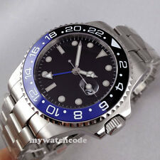 43mm parnis black dial GMT Ceramic Bezel sapphire glass automatic mens watch 298
