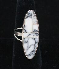 Navajo Indian Ring White Buffalo Turquoise Inlay Oval Size 8-1/4 Sterling Silver