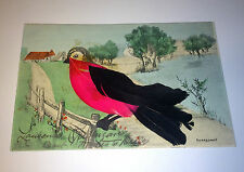 Rare Antique Bright Bird European Postcard Animal W/ Feathers - Old Handgemalt