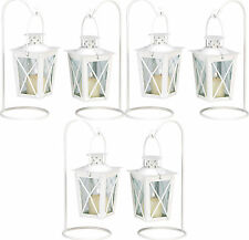 6 White Lantern Small Candleholder Wedding Centerpieces - New