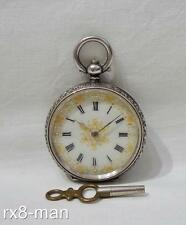 ANTIQUE PRETTY SWISS SOLID SILVER LADIES FOB POCKET WATCH WORKING