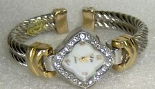 PREOWNED COLLEZIE TWOTONE BRAND WATCH W/WHITE UNUSUAL SHAPED FACE & CUFF STYLE