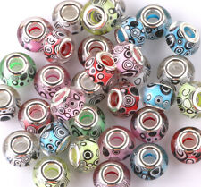 10P MURANO Lampwork mix charm Beads fit 925 silver European Bracelet Chain A#184