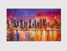 "416 CANVAS X LARGE 18"" X 32"" PICTURE ABSTRACT PRINT CITY SKYLINE NEW YORK"