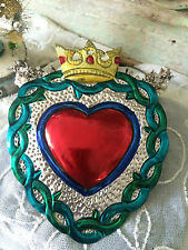 TIN HEART MILAGRO with a CROWN HAND PAINTED CHRISTIANITY EX-VOTO RELIGIOUS