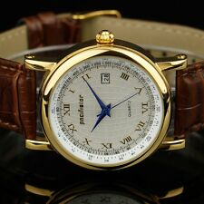 PACIFISTOR Mens Quartz Wrist Watch Date Analog Luxury Brown Leather Rose Gold US
