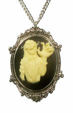 Gothic Zombie Cameo Ivory on Black in Victorian Frame Pewter Necklace NK-629Z