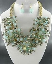 Assorted Mint And Silver Bead Dangle Gold Tone Link Chunky Necklace Earring