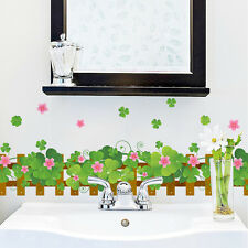 Wall stickers skirting board flooring angular line lucky Clover bathroom Decor