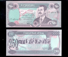 250 Dinars Saddam Hussein Iraq Currency Money Uncirculated