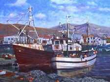 ORIGINAL OIL PAINTING, DUNDALK FISHING BOATS IRELAND, Listed Artist NR!