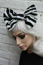 BIG HAIR BOW - ZEBRA FLEECE HAIR CLIP INDIE GRUNGE JAPANESE STREET FASHION