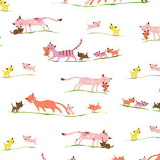 "WINDHAM ""TIGER LILY"" MARCHING CATS Cream by yard"