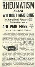1905 Magic Foot Draft Co Holborn Viaduct Queues Rheumatism Vintage Ad