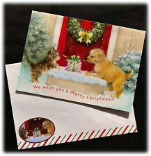 Vintage Avril Haynes Puppy Cat We Wish You A Merry Christmas Happy New Year Card