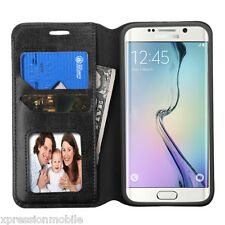 For Samsung Galaxy S6 Edge + PLUS Leather Flip Wallet Case Cover Stand BLACK