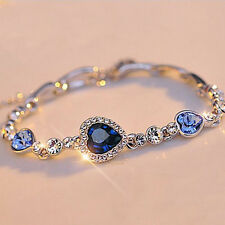 Stylish Women Girls Fashion Ocean Blue Crystal Rhinestone Heart Bracelet