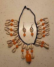 Faux Amber and Cowry Shell Jewelry Necklace Set/Wearable Art AB1E Kwanzaa