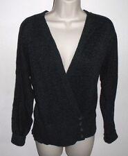 LAUREN by Ralph Lauren, Gray Cardigan Wrap Sweater, Cotton, M Petite