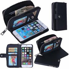 Apple iPhone 6S and 6 Case Detachable Leather Purse Magnetic Zipper Strap Wallet