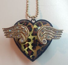 Betsey Johnson Leopard Print Heart Pendant 3D Fly with Me Long Goldtone Necklace