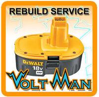 WE REBUILD 18 VOLT DEWALT DW9096 DC9096 XRP 18V BATTERY 2.2AH CELLS