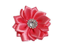 New 5 x Coloured Satin Ribbon Flowers With Crystal Centre Appliques Sew On Craft