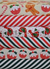 CHRISTMAS POLY COTTON FABRIC BUNDLE  PATCHWORK CRAFTS REMNANTS SQUARES MATERIAL