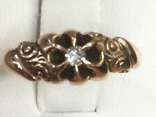 1880s Antique Victorian 14k Solid Yellow Gold  Diamond Engagement Ring