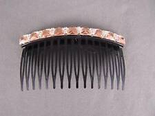 "Peach Black plastic comb crystal side clip hair comb french twist 3 3/8"" wide"