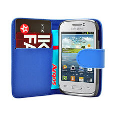 Blue WALLET Leather Case Phone Cover Samsung Galaxy Young GT S-S6310L GT S6310N