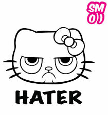 HELLO GRUMPY KITTY HATER STICKER Decal 160mmW JDM Car Van Tablet Review Mirrors