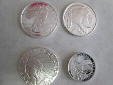 .999 fine 1/4 oz  FINE SILVER ROUNDS ( LOT OF 4 COINS )