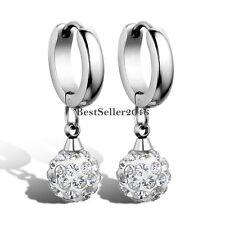 Ladies Stainless Steel High Polished Huggie Hinged Hoop Earrings w Ball Dangle